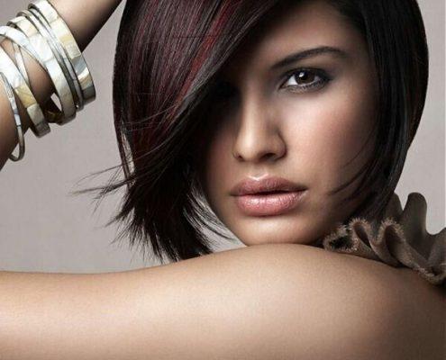 red highlights on short black hair