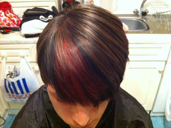 red highlights with black hair