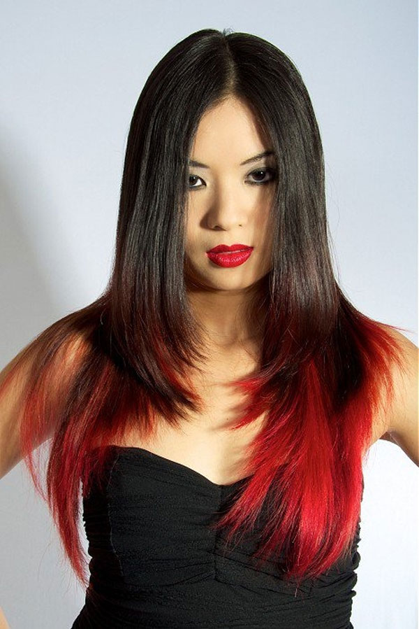 be very sexy with black hair with red highlights underneath
