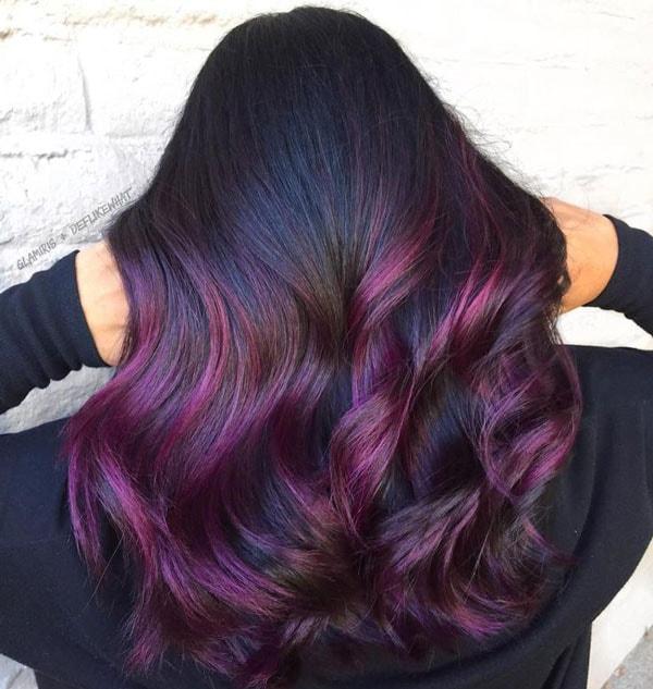 red violet highlights in black hair
